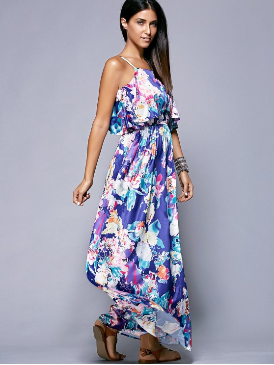 Overlayed Maxi Floral Dress in Blue - BLUE XL Mobile