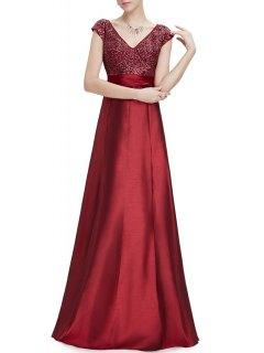 V Neck Satin Maxi Skater Formal Evening Dress - Wine Red S