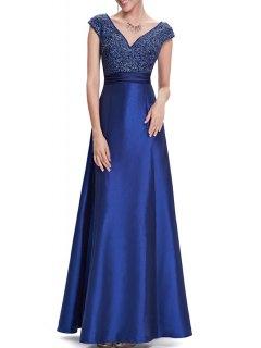 V Neck Satin Maxi Skater Formal Evening Dress - Blue S