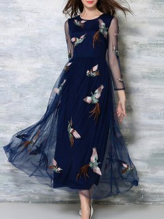 Voile Spliced See-Through Haute Robe Cintrée - Bleu Violet S