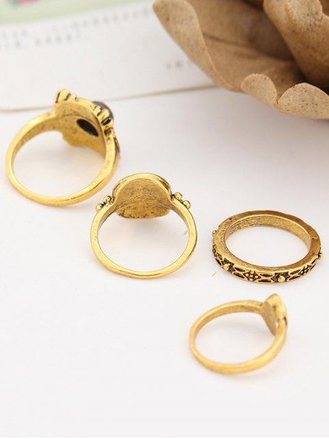 chic Fake Gem Embossed Rings - GOLDEN  Mobile