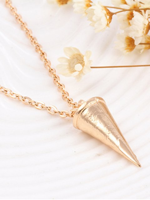 women's Faux Pearl Triangle Layered Necklace - GOLDEN  Mobile
