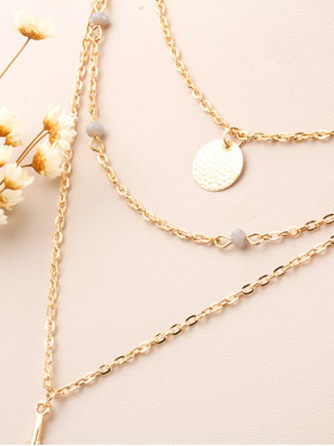 best Fake Feather Layered Necklace - GOLDEN  Mobile