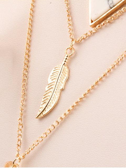 online Fake Pearl Leaf Layered Necklace - GOLDEN  Mobile