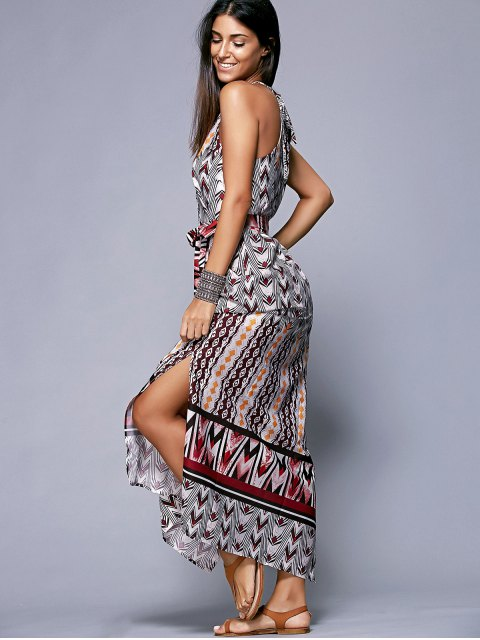 women's Side Slit Belted Bohemian Dress - COLORMIX M Mobile