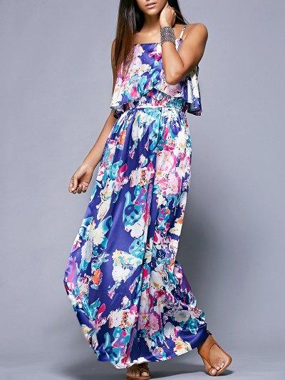 Vestido Floral Con Solapamiento Maxi En Azul - Azul