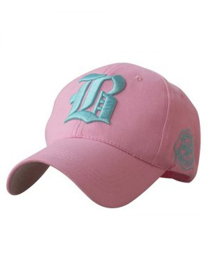 Gothic Letter Embroideried Baseball Hat - Pink