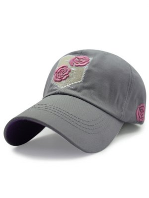 Rose Embroideried Baseball Hat - Gray
