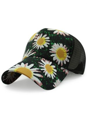 Mesh Back Chrysanthemum Baseball Hat - Black