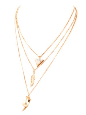 Fake Pearl Leaf Layered Necklace - Golden