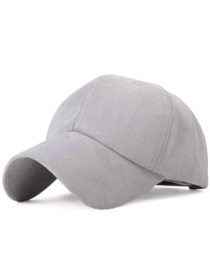 Ice-Cream Color Suede Baseball Hat - Gray