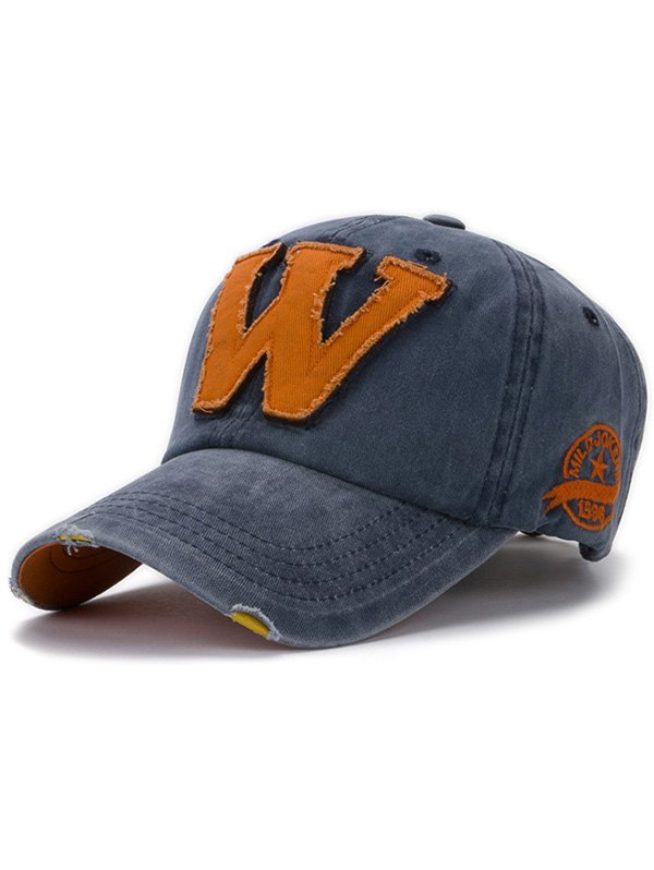 Letter W Baseball Hat - DENIM BLUE