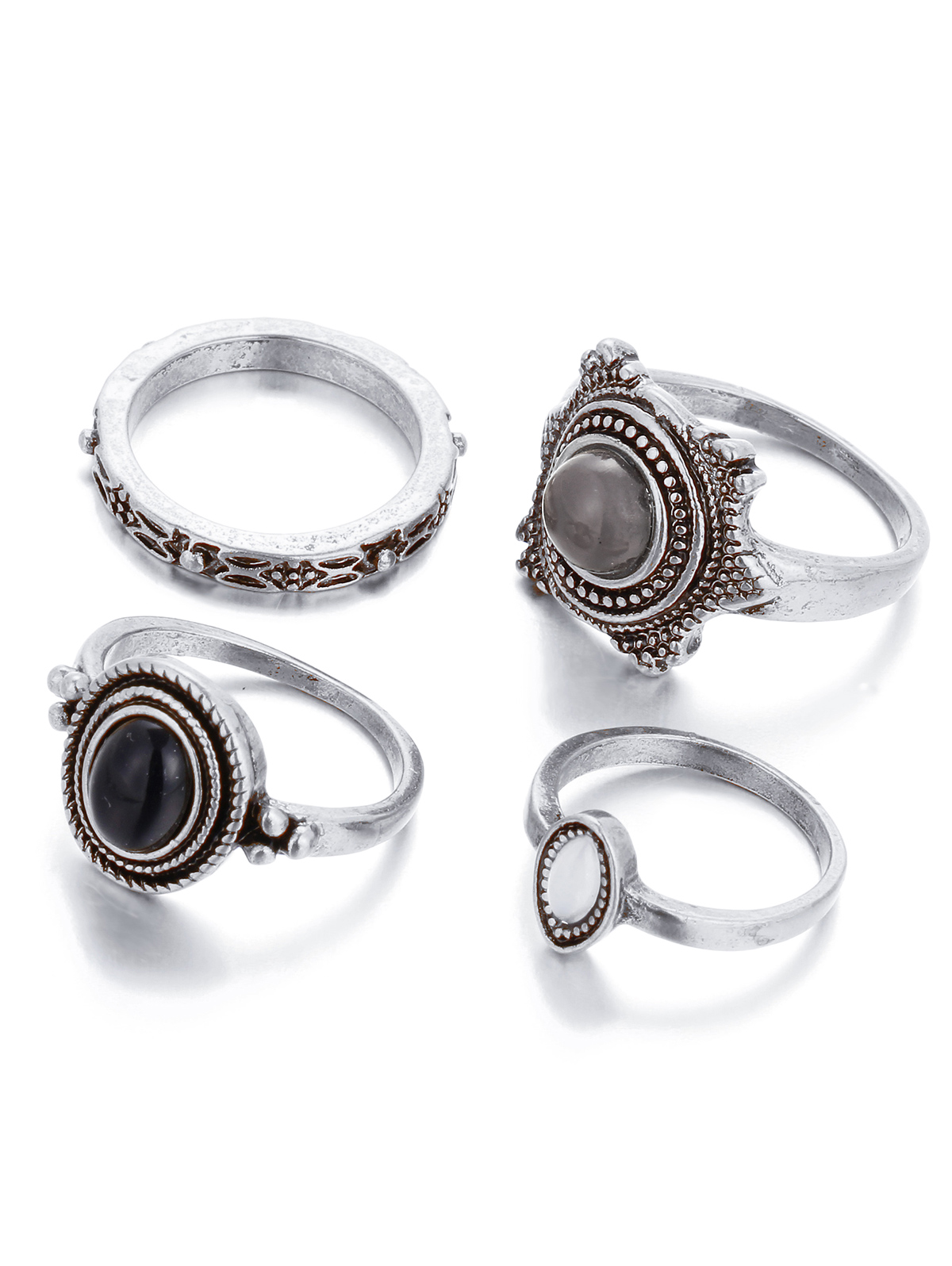 Faux Gem Embossed Rings