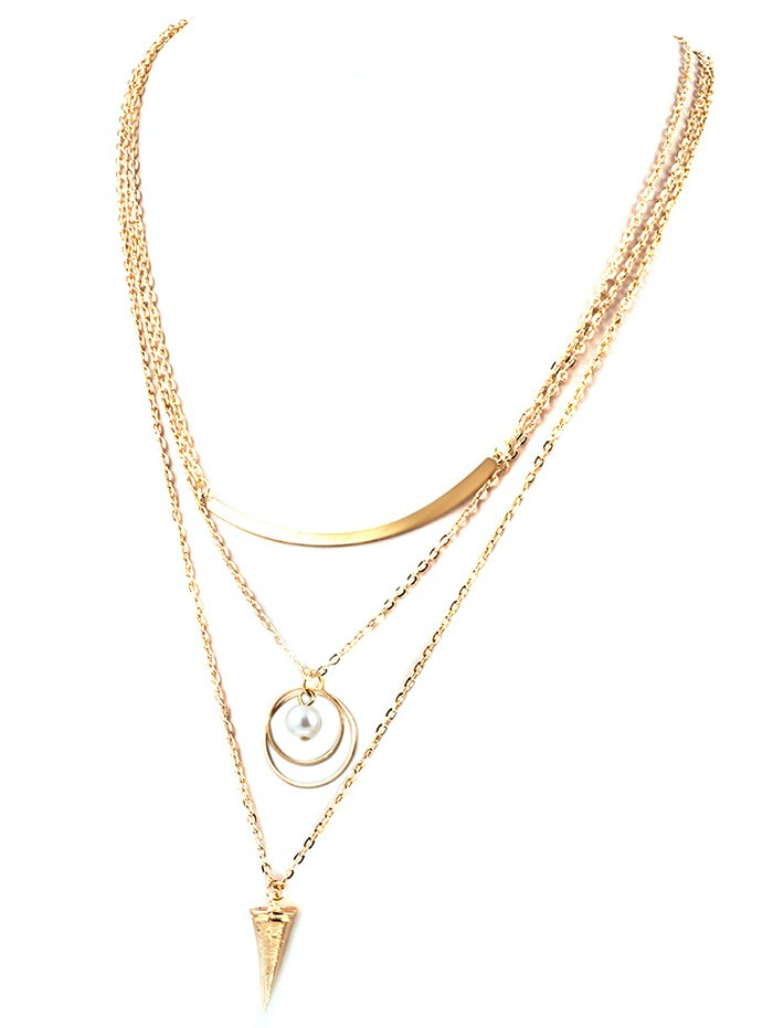 Faux Pearl Triangle Layered Necklace