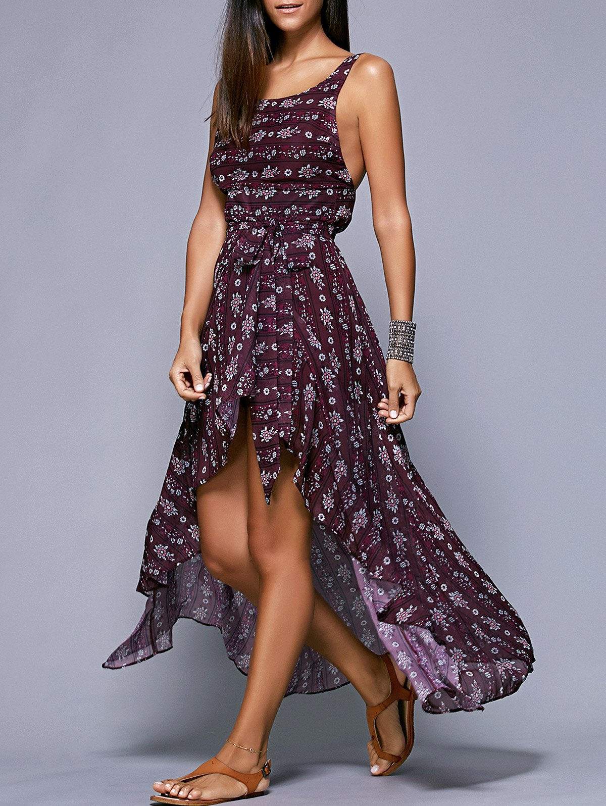 Open Back Maxi Dress in Plum