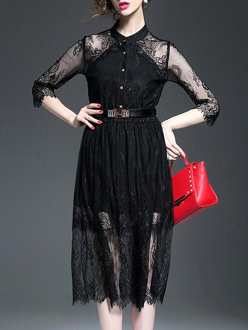 See Through Stand Neck Lace Spliced Dress 188788203