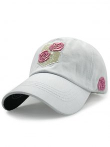 Rose Embroideried Baseball Hat - White