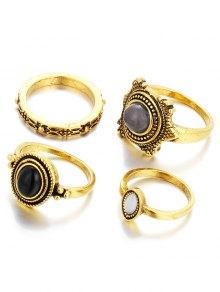 Fake Gem Embossed Rings - Golden