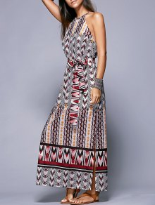 Side Slit Belted Bohemian Dress - L