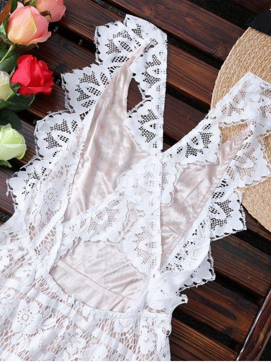 Open Back Prom Dress - MILK WHITE M Mobile