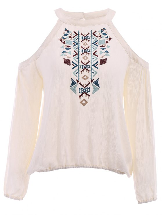 trendy Long Sleeve Cut Out Embroidered Blouse - WHITE M