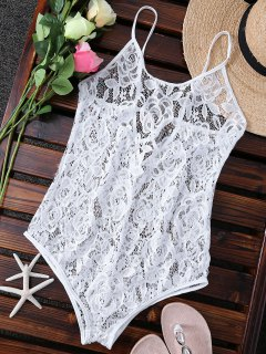 Unlined One-Piece Lace Swimsuit - White M
