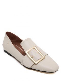 Square Toe Buckle Flat Shoes - Off-white 38