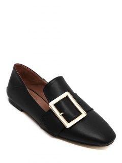 Square Toe Buckle Flat Shoes - Black 38