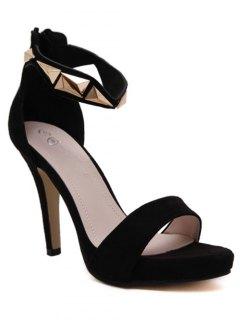 Metal Black Ankle Strap Sandals - Black 38