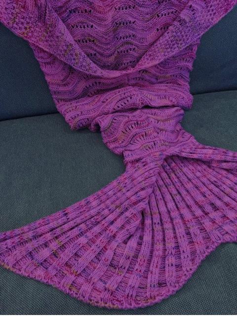 womens Handmade Knitted Mermaid Blanket - PURPLE  Mobile