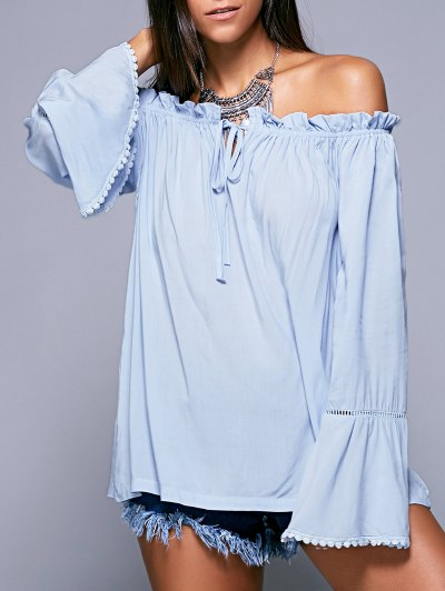 Ruffled Off The Shoulder Long Sleeve Blouse - Light Blue