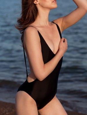 High Cut Backless One-Piece Swimwear - Black