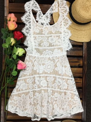 Open Back Prom Dress - Milk White