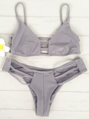 Solid Color Cami Elastic Bikini Set - Light Gray