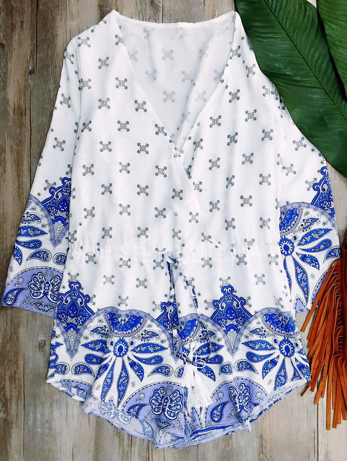 Long Sleeve Porcelain Print PlaysuitClothes<br><br><br>Size: M<br>Color: BLUE AND WHITE