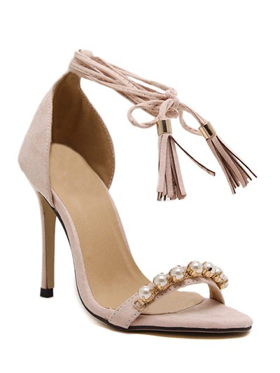Tassel Beading Stiletto Heel Sandals