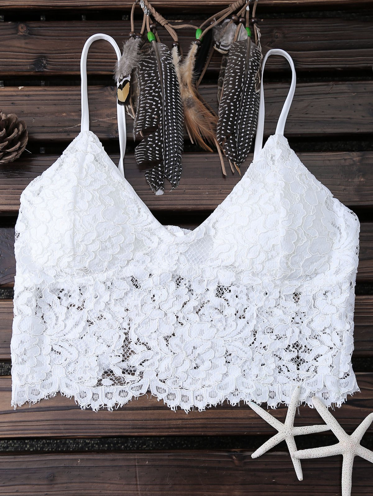 Padded Lace White Tank Top
