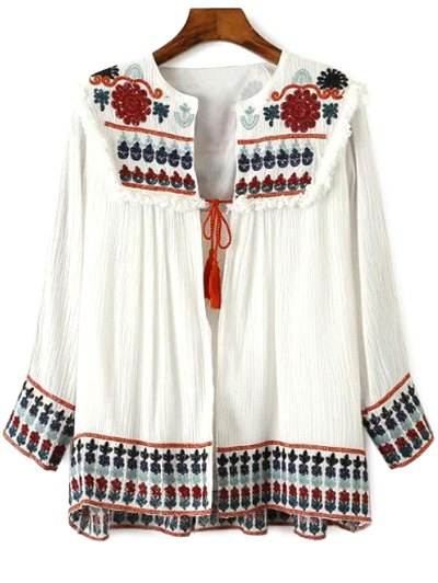 Round Neck Retro Embroidery Long Sleeve Blouse