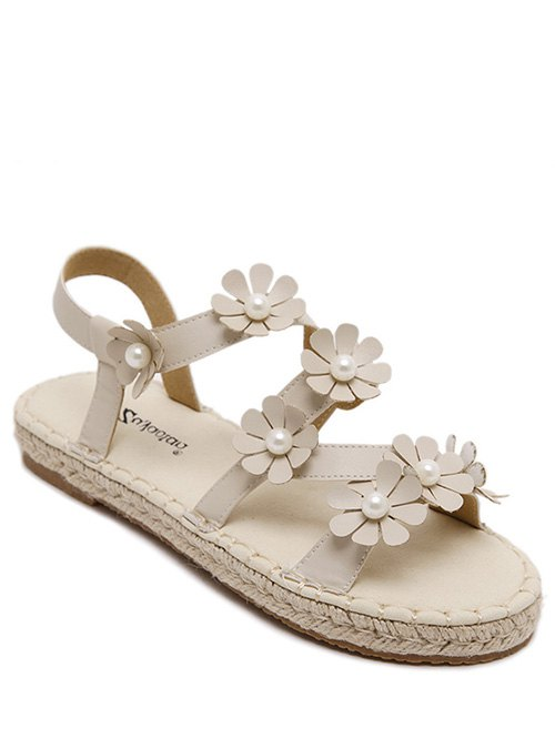 Flowers Straw Flat Heel SandalsShoes<br><br><br>Size: 38<br>Color: OFF-WHITE