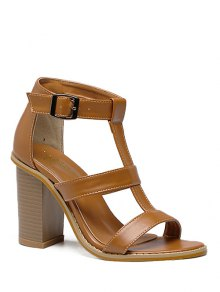 T-Strap Chunky Heel Sandals - Brown 39