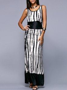 Striped Scoop Neck Sleeveless Maxi Dress - White And Black L