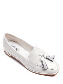 Tassel Patent Leather Flat Shoes - White