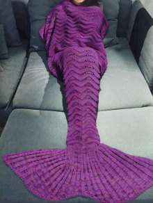 Handmade Knitted Mermaid Blanket - Purple