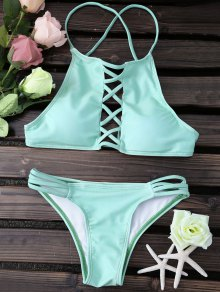 Lace Up Spaghetti Straps Solid Color - Green