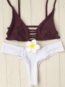 Spaghetti Straps Hollow Out Hit Color Bikini Set