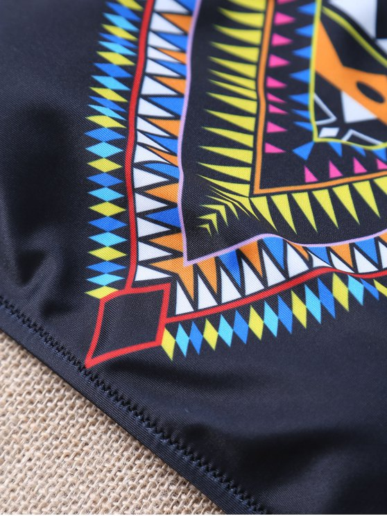Aztec Print Pullover High Neck Bikini - BLACK M Mobile