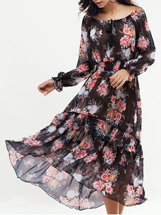 affordable Long Sleeve Swingy Maxi Dress - BLACK M
