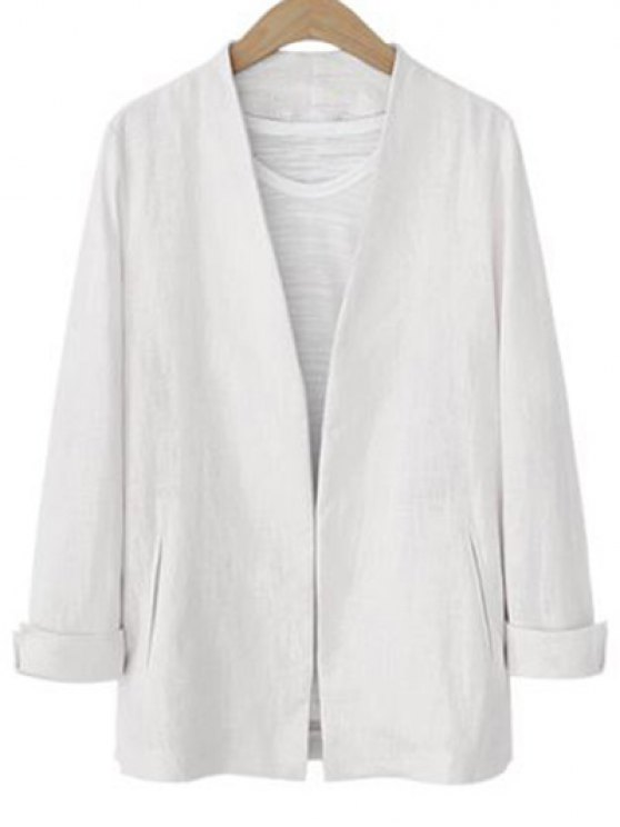 Solid Color Long Sleeve Stand Neck Jacket - WHITE L Mobile