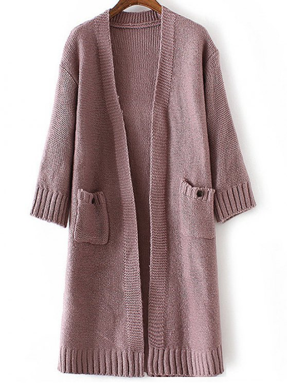 chic Side Slit Long Line Cardigan - LIGHT PURPLE ONE SIZE