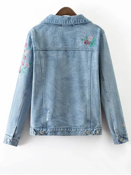 Metallic Button Embroidered Denim Jacket - LIGHT BLUE S Mobile